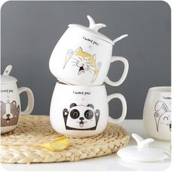 Eggshell Houseware - Cartoon Ceramic Mug with Lid & Spoon
