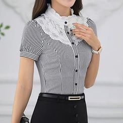 Caroe - Frill Collar Lace Panel Striped Short-Sleeve Shirt