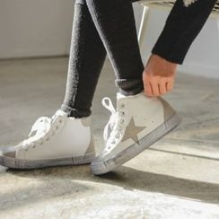JUSTONE - Star-Appliqué Distressed High-Top Sneakers