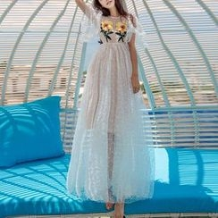 MUSI - Floral Embroidered Mesh A-Line Maxi Dress