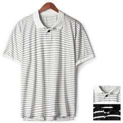 Seoul Homme - Short-Sleeve Striped Polo Shirt