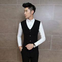 Maluda - Inset Vest Long-Sleeve Striped Shirt