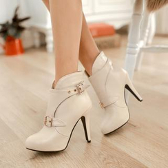 Shoes Galore - Belted Heeled Short Boots