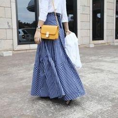 STYLEBYYAM - Stripe A-Line Maxi Skirt