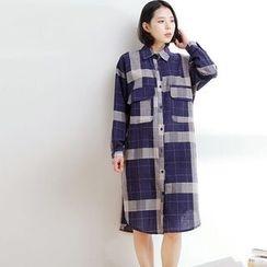 Waypoints - Gingham Long-Sleeve Shirtdress