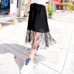 Xiaowei - Lace-Hem Pleated Maxi Skirt