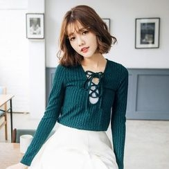Tokyo Fashion - Long-Sleeve Lace-Up Knit Top