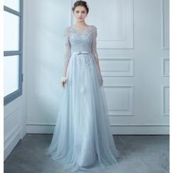 MSSBridal - Elbow Sleeve Lace Trim Evening Gown