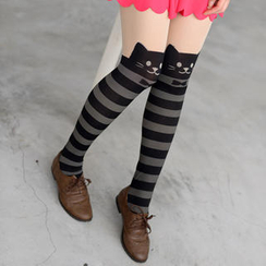 59 Seconds - Cat Print Striped Tights
