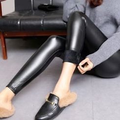 Crytelle - Faux Leather Fleece-lined Skinny Pants