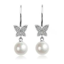 BELEC - 925 Sterling Silver with Fashion Pearl Butterfly Ribbon Earrings