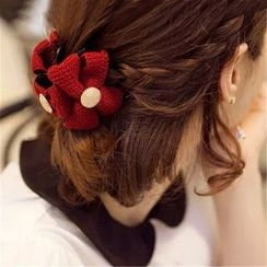 Gold Beam - Knit Bow Hair Clip