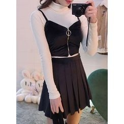 icecream12 - Zip-Front Bustier Top