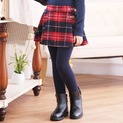 Smart Kids - Kids Inset Plaid Skirt Fleece-Lined Leggings