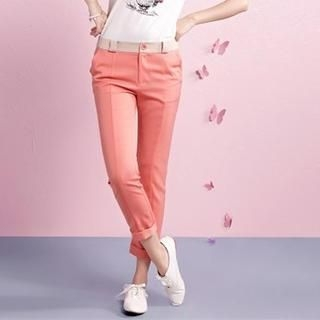 Moonbasa - Contrast-Trim Slim-Fit Cropped Pants