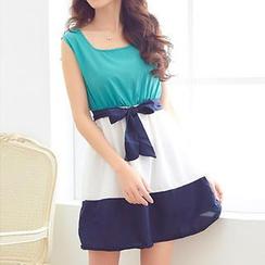 Rocho - Color-Block Chiffon Dress