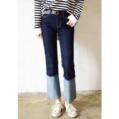 DEEPNY - Cuff-Hem Straight-Cut Jeans