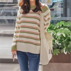 Styleberry - Round-Neck Stripe Knit Top