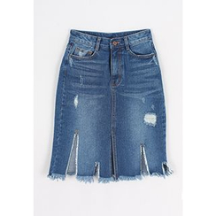 REDOPIN - Distressed Slit-Side Denim Skirt