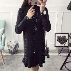 Qimi - Long-Sleeve Ruffle Trim knit Dress