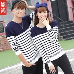 Igsoo - Couple Matching Stripe Knit Top