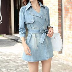 Romantica - Tie-Waist Denim Trench Coat