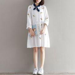 Gaia - Flower Embroidered Long Sleeve Shirt Dress