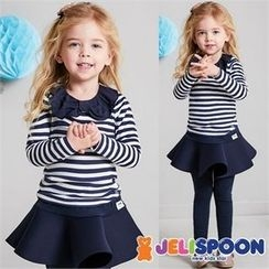 JELISPOON - Girls Set: Collared Striped Top + Inset Mini Skirt Leggings