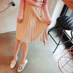 Cherryville - Asymmetric-Hem Pleated Skirt