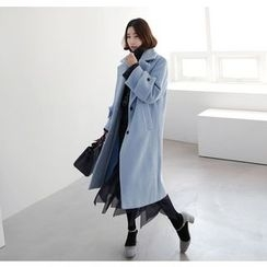Miamasvin - Wide-Collar Wool Blend Long Coat