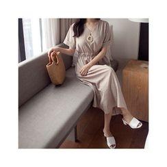 MASoeur - Short-Sleeve A-Line Midi Dress