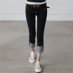 CHICFOX - Fray-Hem Slim-Fit Pants