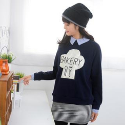 59 Seconds - Striped Collar Appliqué Pullover