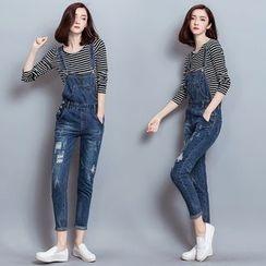 Mandalle - 套裝: 長袖條紋T恤 + 背帶牛仔褲