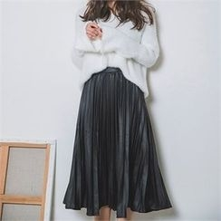 ERANZI - Pleated Faux-Leather Long Skirt