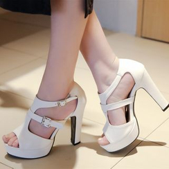 Shoes Galore - Cutout Platform Sandal Pumps