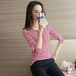 Silky Kiss - Striped Long Sleeve Henley T-Shirt
