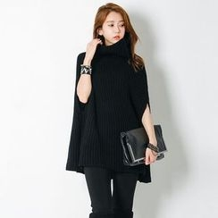 FASHION DIVA - Turtle-Neck Rib-Knit Poncho Top