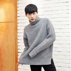 TOMONARI - Turtle-Neck Rib-Knit Sweater