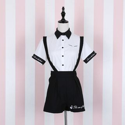 Jade Dragon - Embroidered Short-Sleeve Shirt / Suspender Skirt / Suspender Shorts / Bow Tie
