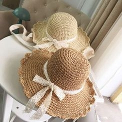 FROME - Lace Bow Straw Hat