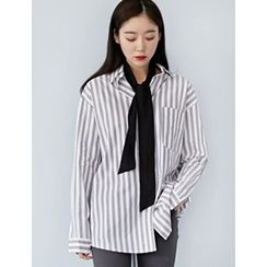FROMBEGINNING - Dip-Back Striped Loose-Fit Shirt
