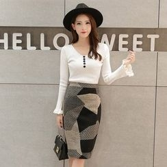 Coolvibe - Color-Block Pencil Skirt