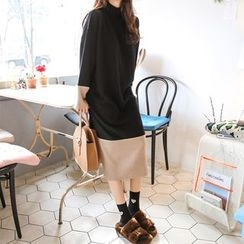PPGIRL - Color-Block Loose-Fit Dress