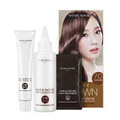 Nature Republic - Hair & Nature Hair Color Cream (#7C Choco Brown): Hairdye 60g + Oxidizing Agent 60g + Hair Treatment 9g