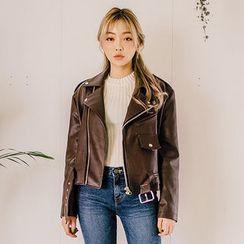 chuu - Belted Faux-Leather Biker Jacket