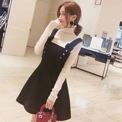 Ashlee - 鈕釦吊帶裙