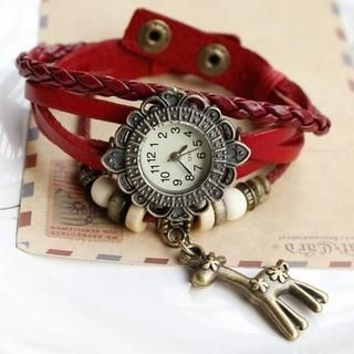 Miss Girl - Giraffe-Charm Genuine-Leather Bracelet Watch