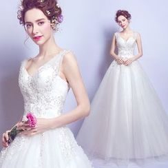 Angel Bridal - Beaded Ball Gown Wedding Dress