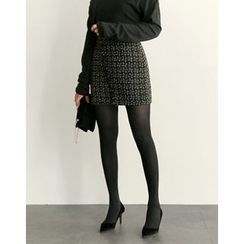 UPTOWNHOLIC - Wrap-Front Tweed Skirt